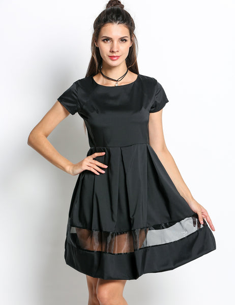 Black A-Line O-neck Short Sleeve Mesh Patchwork Party Dress