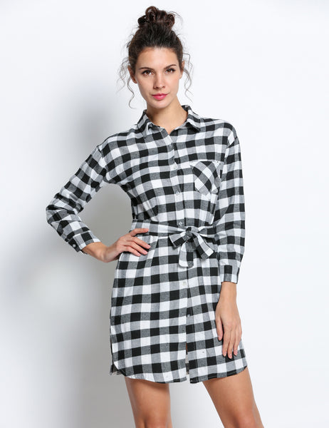 Long Sleeve Check Straight Casual Shirt Dress With Belt