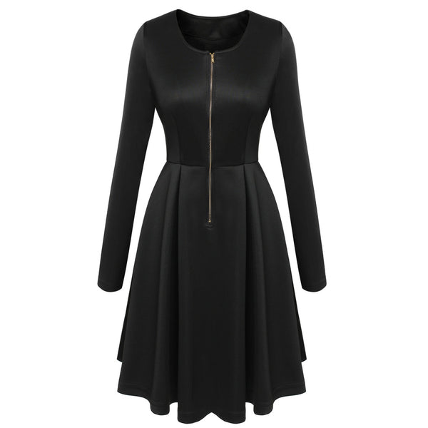 Black Fashion Women Lady Long Sleeve O Neck High Waist Casual Pleated Mini Party Dresses