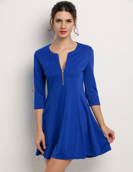 3/4 Sleeve Solid Sexy Mini Shift Going Out Dress