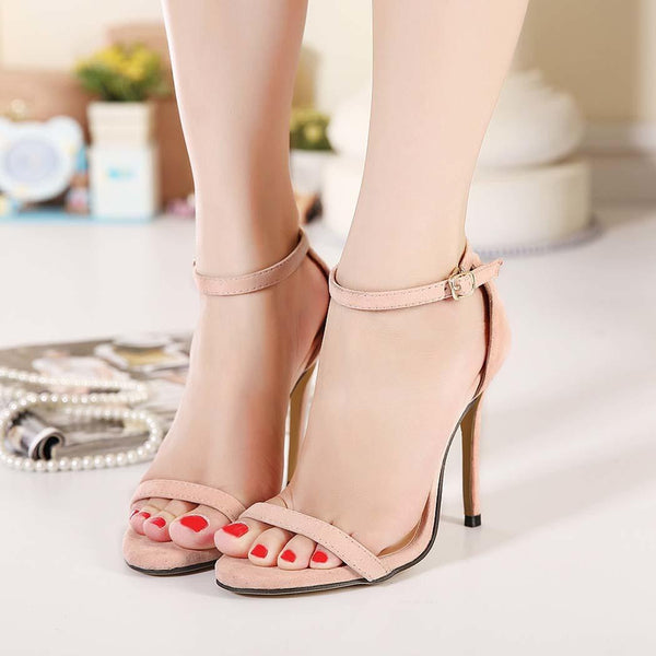 Apricot New Fashion Sexy Women High Stilettos Shoes Ankle Strap Party Evening Heels Sandals