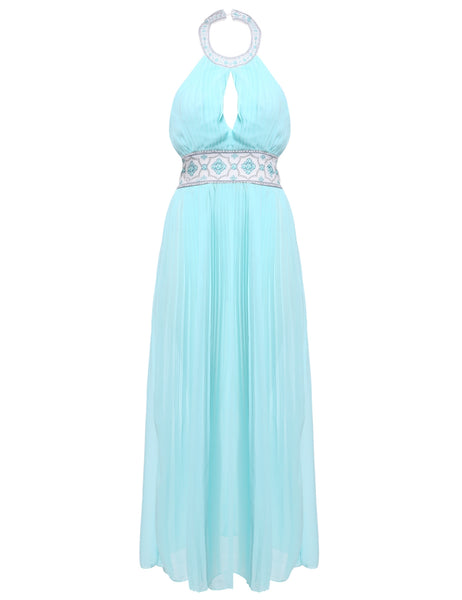 Blue Fashion Women High Neck Backless Chiffon Ball Prom Gown Pleated Maxi Party Evening Wedding & Bridesmaid Dresses