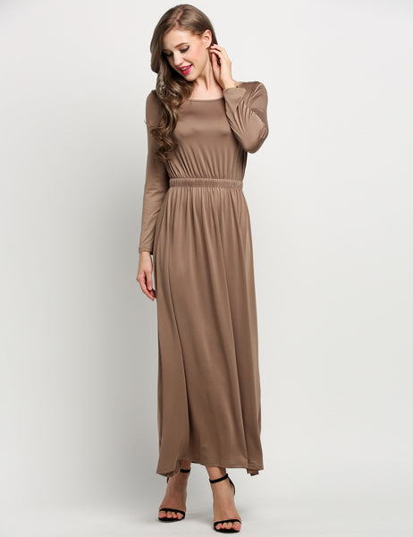 Coffee Boat Neck Long Sleeve Pleated Full Length Casual Dresses