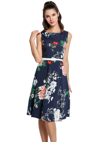 Dark blue Vintage Style -Neck Sleeveless Floral Print Work Dress with Belt