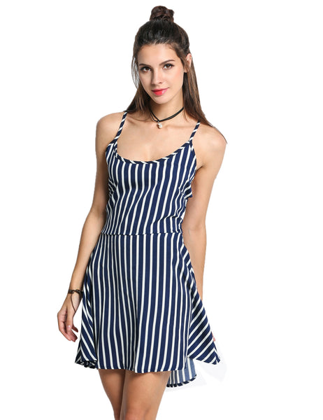 Cross Strap Backless Striped A-Line Going Out Dress