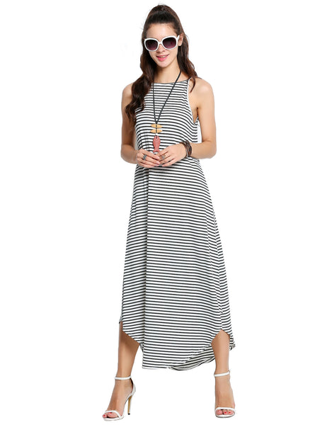 Black&White Women Sleeveless Striped Long Maxi Swing Casual Dresses