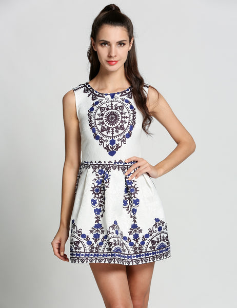 White O-Neck Print Sundress Sleeveless Slim A-Line Casual Dress