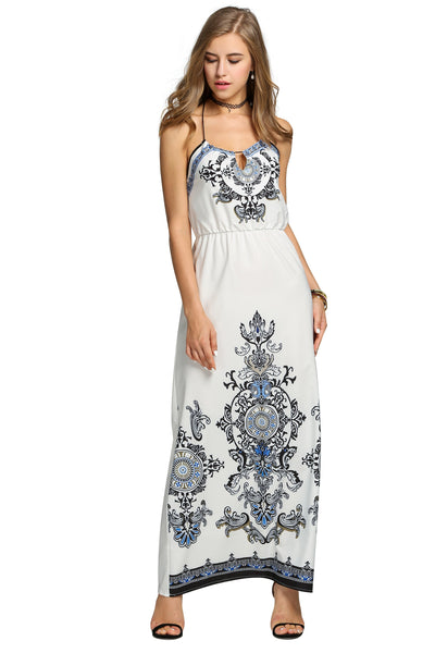 White Halter Backless Casual Print Long Maxi Going Out Dress