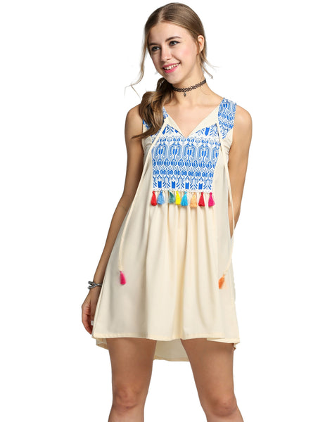 Apricot Sleeveless Print Tassel A-Line Mini Tank Casual Dress