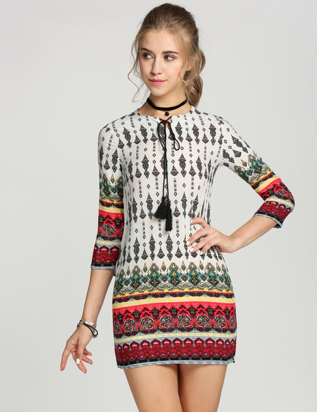 O-Neck 3/4 Sleeve Print Short Straight Casual Dress