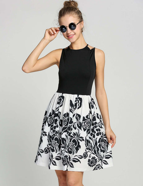 Black Sleeveless Print Backless Sexy Going Out Dress