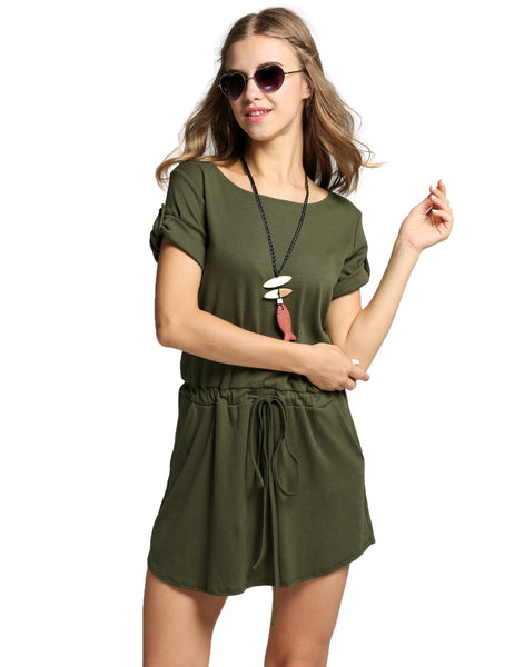 Army green O-Neck Short Sleeve Drawstring Waist Pocket Casual Dress