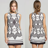 Women Fashion Round Neck Sleeveless Geometric Pattern A-Line Short Dress