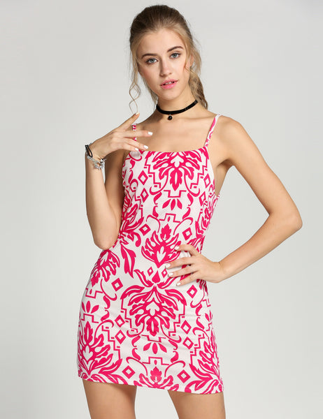 Spaghetti Strap Print Bodycon Stretch Going Out Dress