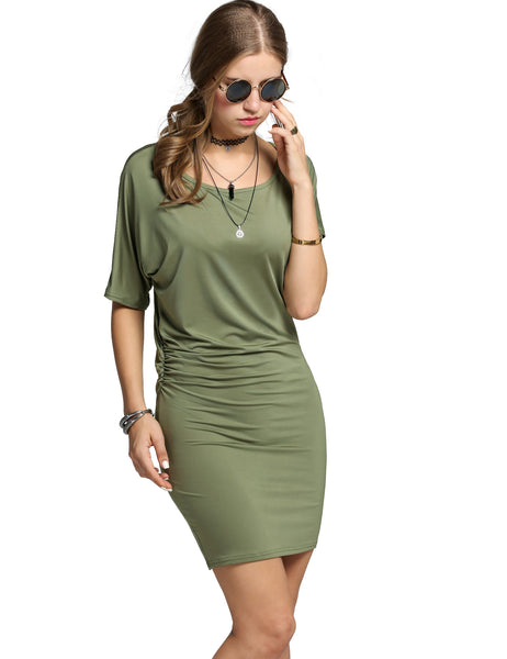 Army green Fashion Women O-Neck Batwing Sleeve Side Ruched Package Hip Casual Dresses