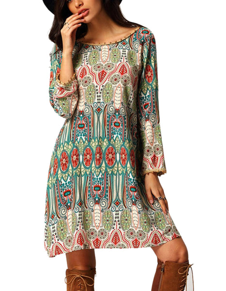 Green Long Sleeve Vintage Style Shift Tassel Decor Loose Casual Dress
