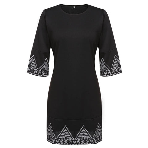 Fashion Women O-Neck 3/4 Sleeve Print Casual A-Line Mini Dress