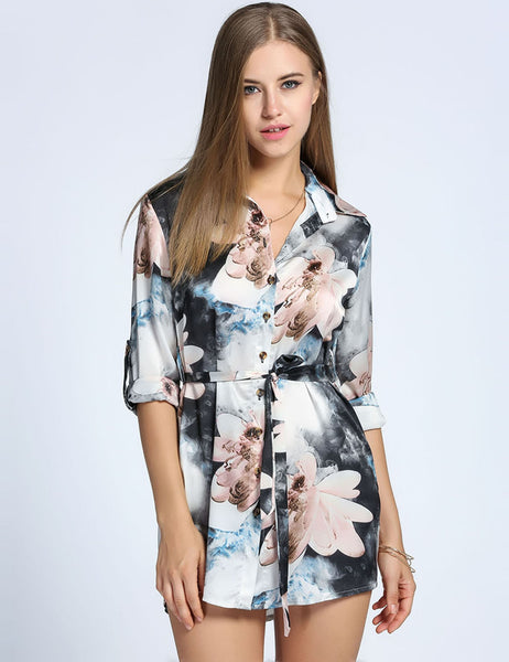 Water Colour Floral Mini Shirt Belted Casual Dress