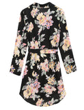 Black Long Sleeve Print Bandage Mini Chiffon Shirt Casual Dress