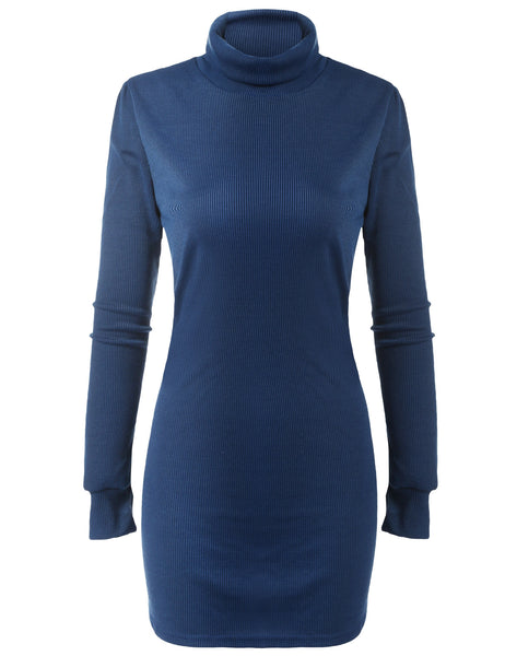 Black New Fashion Women High Neck Long Sleeve Pencil Bodycon Knitting Basic Slim Mini Casual Dresses
