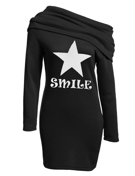 Cowl Neck Long Sleeve Bodycon Pencil Hoodie Casual Dress