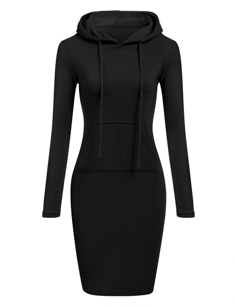 Slim Hooded Long Sleeve Pencil Hoodie Casual Dress