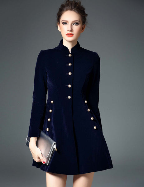 Long Sleeve Solid Button A-Line Mini Dress