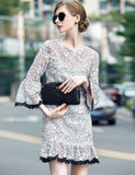 3/4 Flare Sleeve Floral Embroidery Lace-trimmed Ruffle Hem Short Fishtail Dress