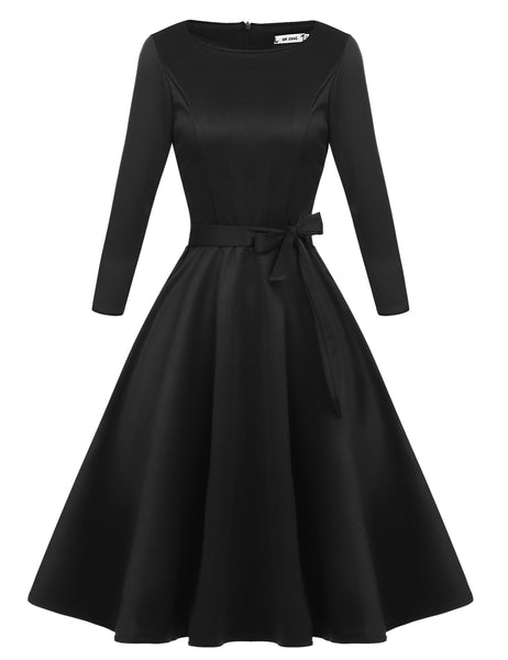 Black O-Neck 3/4 Sleeve Fit and Flare Self-Belt Swing Casual Dress