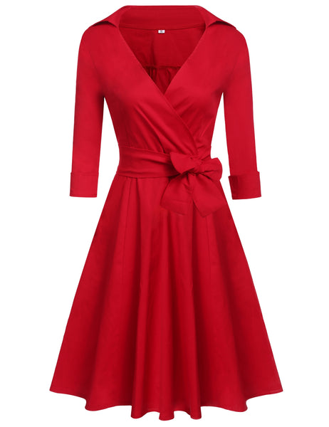 Women Fashion Elegant Vintage Style Cross Front V-Neck 3/4 Sleeve Solid A-Line Swing Dress