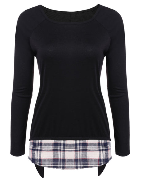 Round Neck Raglan Long Sleeve Plaid Patchwork Asymmetrical T-Shirt