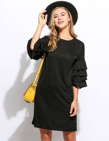 Black 3/4 Ruffle Sleeve Straight Solid Mini Casual Dress