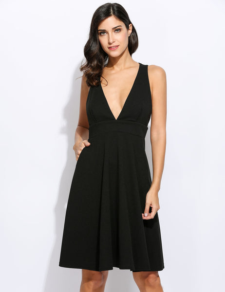 Sexy Deep V-Neck Pocket Solid Zip Sleeveless Short Swing Going Out Dresses