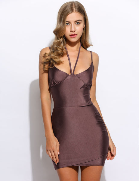 Purple Spaghetti Strap V Neck Slim Solid Bodycon Club Party Dress