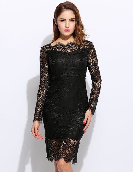 Women Sexy Long Sleeve Slash Neck Hollow Lace Backless Bodycon Pencil Short Dress