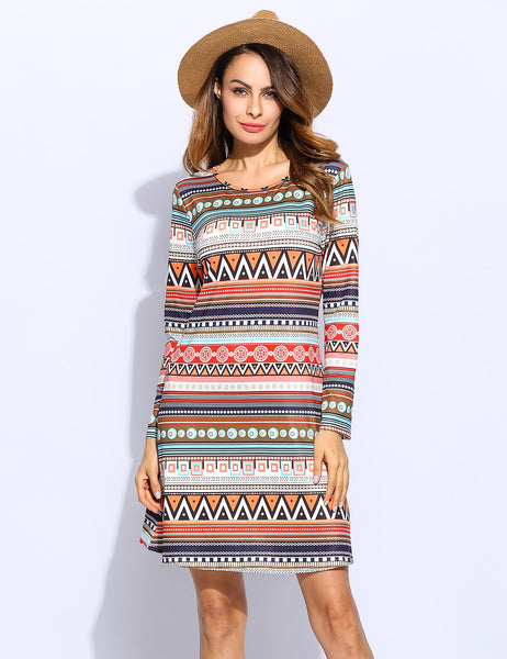 Vintage Women O-Neck 3/4 Sleeve Bodycon Geometric Print A-line Dress National Style