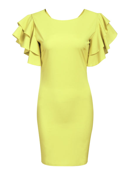 Yellow Women Tulip Sleeve Turn-down Collar Vintage Styles Dot Patchwork Pencil Going Out Dresses