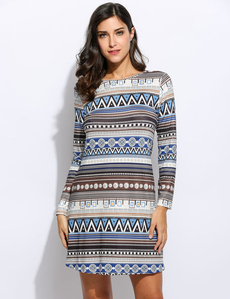 Women Ethnic Styles Long Sleeve Loose Geometric Prints Casual Dress