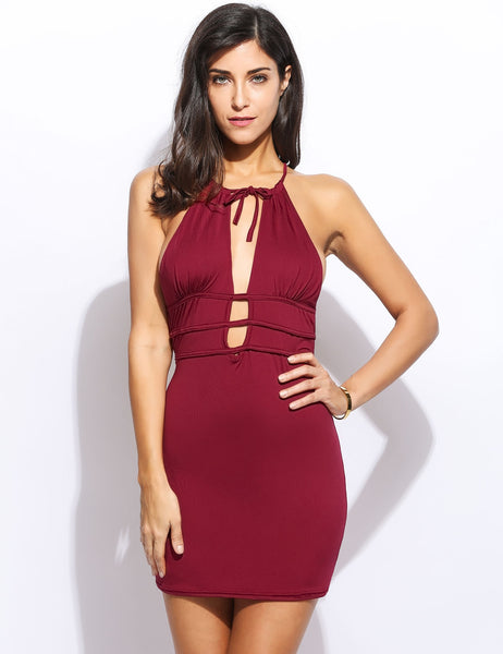 Sexy Women Sleeveless Halter Backless Slim Going Out BodyCon Dress