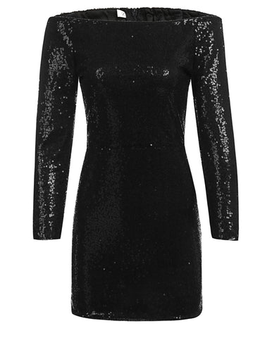 Black Sexy Lady Off-the-Shoulder Sequins Bodycon Party Dress