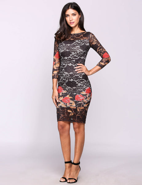 Black 3/4 Sleeve Embroidery Round Neck Lace Bodycon Pencil Going Out Dress