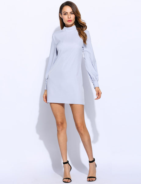 Women Long Puff Sleeve Stand Collar Causal Back Neck Drop Solid Shift Dress