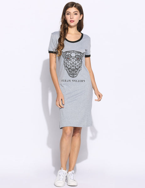 Women Tiger Print Short Sleeve O Neck Casual Styles Patchwork T-Shirt Dress