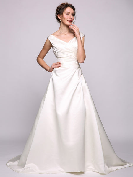 Women A-Line/Princess V-neck Chapel Train Satin Wedding Dress