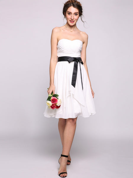 Women A-Line/Princess Sweetheart Knee-Length Chiffon Bridesmaid Dress With Bow Cascading Ruffles