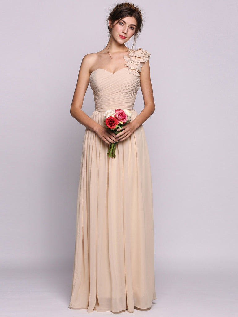 9f14faf9d97c Women A-Line/Princess One-Shoulder Floor-Length Chiffon Bridesmaid Dress  With