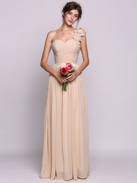 Women A-Line/Princess One-Shoulder Floor-Length Chiffon Bridesmaid Dress With Ruffle Flower