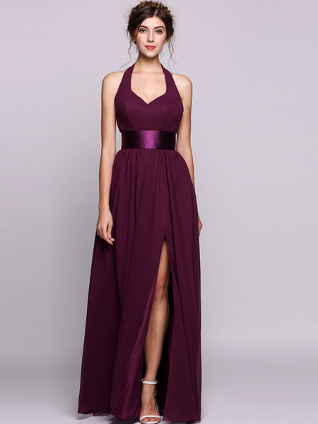 Women A-Line/Princess V-neck Floor-Length Chiffon Bridesmaid Dress With Ruffle Bows Split Front