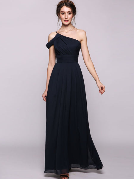 Women A-Line/Princess One-Shoulder Floor-Length Chiffon Bridesmaid Dress With Ruffle