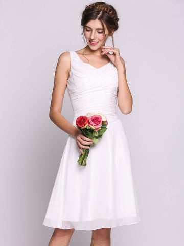 White Women Chiffon Sequins Knee-length Bridesmaid Beading Dress with V-Neck